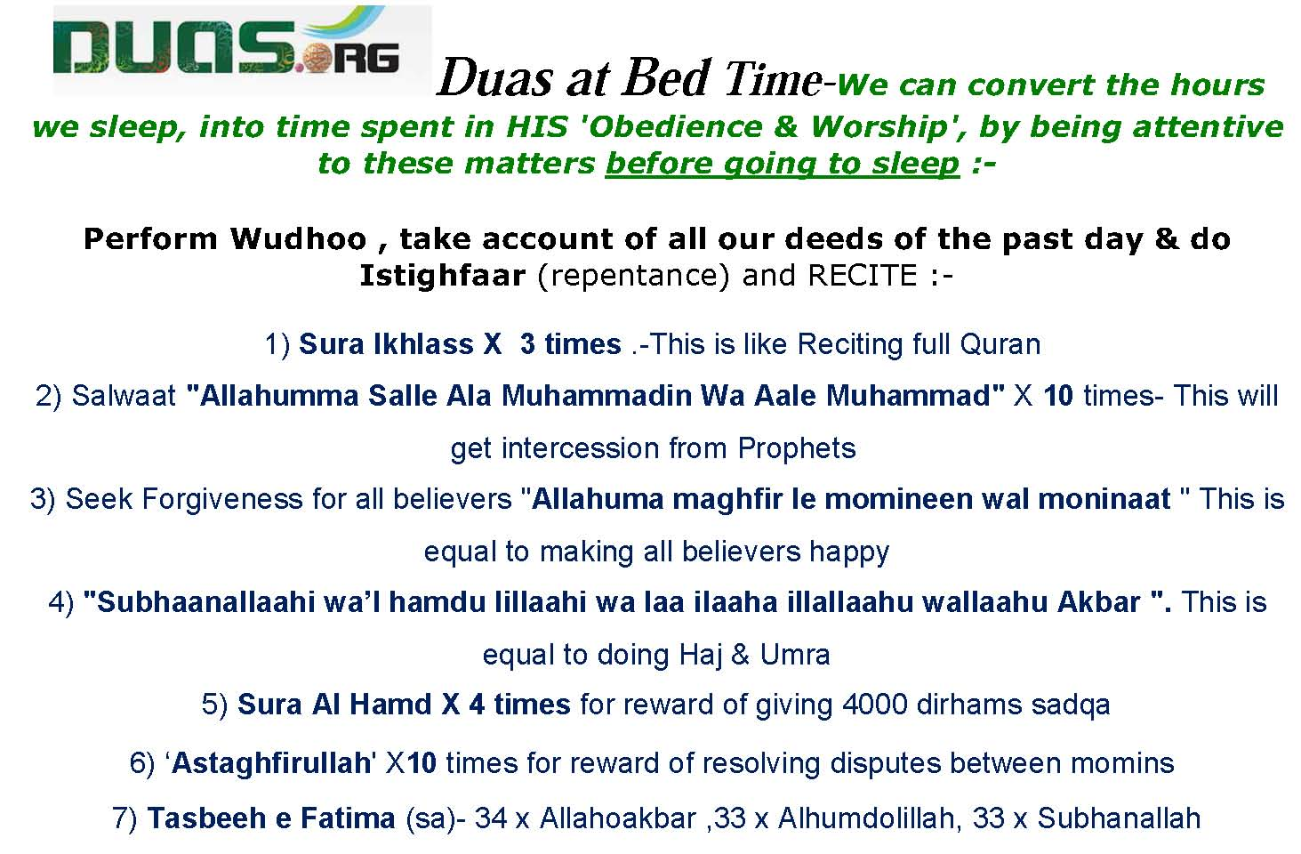 Bedtime Duas  Upon Waking